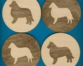 Wood Coasters Collie - Laser Cut Inlaid Set of Four (CI-208)