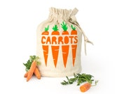 CARROTS: Eco friendly hemp organic cotton reusable drawstring bag. Fresh produce storage sack. Handmade kitchen housewares. Food storage.