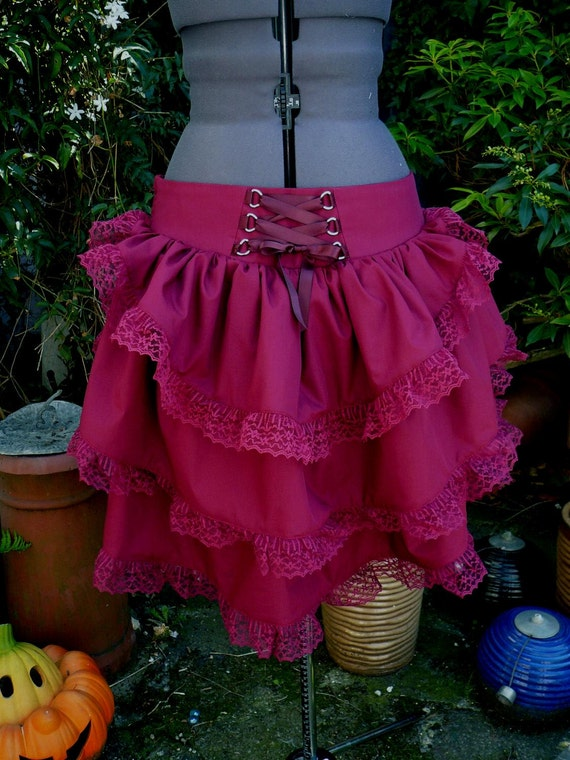 steampunk bustle skirt with low waist and back corset style lacing.  Any size any colour