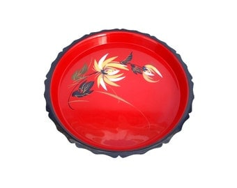 Vintage Red and Black Round Tray with Hand Painted Floral Design Plastic Lacquer Ware Yellow and White Flowers Green Leaves Gold Highlights