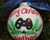 Hand-painted Personalized Ornament with an XBox Game Controller and Swarvoski Rhinestones for the buttons