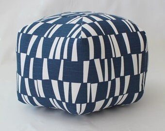 "18"" Ottoman Pouf Floor Pillow Navy Sticks"