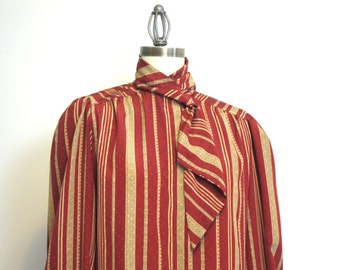 Vintage 1980s maroon striped blouse with neck tie detail - size large - vintage daywear - Gailord - retro office wear