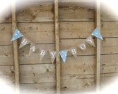 Baby Boy burlap banner in white lettering, baby shower banner, baby blue polk-a-dot photo prop, bunting, sign,
