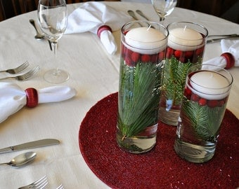 Set of Six Cranberry Red Napkin Rings for Christmas Table Decorations, Burgundy Holiday Serviette Holders
