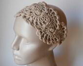 HeadBand- Crochet Headband-   Hair Fashion Accessories - Crochet HairBand in Beige