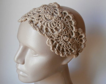 HeadBand- Crochet Headband-   Hair Fashion Accessories - Crochet HairBand in Beige