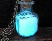 Steampunk necklace Magic Fire Fairy Angel dust pendant charm Glow in the dark bottle vial Aqua