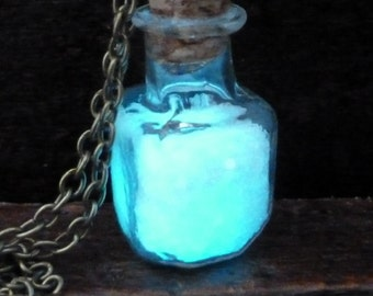 Steampunk necklace angel fairy magic powder pendant charm Glow in the dark bottle vial Aqua