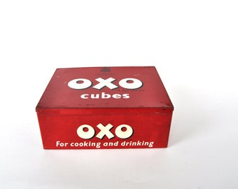 Vintage English OXO Red Tin Box