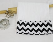 Black and White Chevron Flour Sack Kitchen Towel