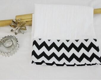 Black and White Chevron Flour Sack Kitchen Towel