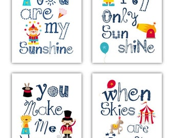 Circus Art // Nursery Wall Art // You Are My Sunshine Art for Kids // Circus Decor // Circus Art Prints //Circus Nursery Decor 4-8x10 PRINTS