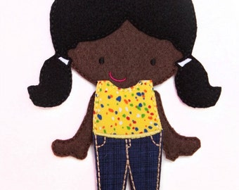 Felt Doll, Gracy, Non Paper Doll, Doll with outfit, Felt Paper Doll, Felt Toy, Travel Toy