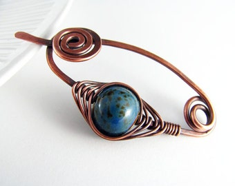 Shawl Pin Copper Scarf or Sweater Pin Fibula Wire Wrapped Jewelry Blue Pin Copper Jewelry Wire Pin Brooch