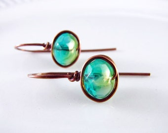 Wire Wrapped Earrings Copper Jewelry Turquoise Earrings Wire Wrapped Jewelry Copper Earrings