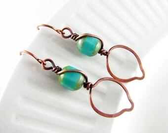 Wire Wrapped Earrings Turquoise Earrings Copper Earrings Leaf Earrings Wire Wrapped Jewelry Copper Jewelry