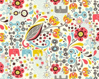 END Of BOLT ~~1yd 9in ~~ Frolic Girl by Rebekah Ginda for Birch Organic Fabrics Pink Yellow Blue Elephants