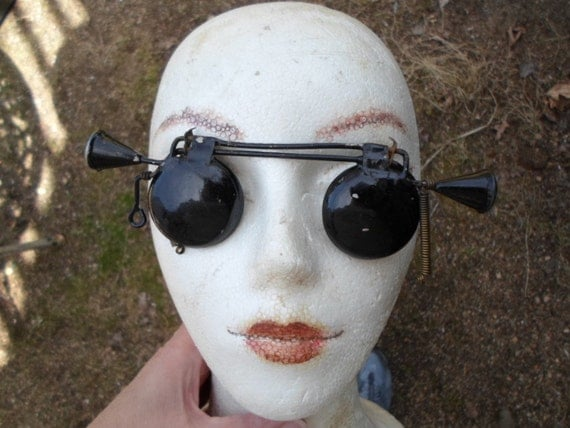 vintage metal hoodwink goggles metal steampunk art project
