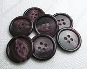 """Grape Swirls: 3/4"""" (19mm) Purple Buttons with Marbled Detail - Set of 7 New / Unused Buttons"""