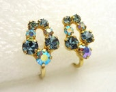 Aurora Borealis & Sapphire Austrian Crystal Earrings - Vintage Estate Beauties