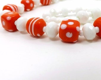 Bold Orange and White Choker Necklace Set, Summer Bright Orange Cubes and Faceted White Glass Beads, Jewelry Gift for Mother