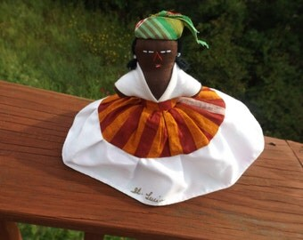 """6""""H Sale St. Lucia doll.Hand made doll with earrings.Double doll.Turn her and you will have the new one.Black St. Lucia. double doll Gift"""