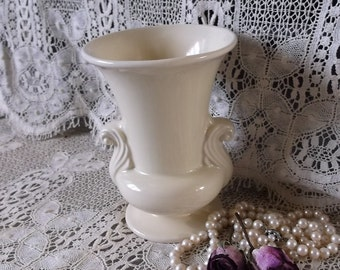 Vintage Ivory, Art deco style, pottery vase, 1950s