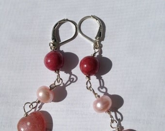 Rhodonite, Pink Pearl, Rhodochrosite, Silver Earrings,