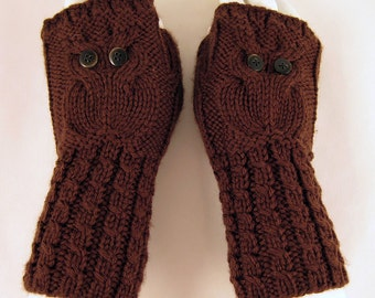 Owl Hand Warmers \ Fingerless Gloves Wool in Chocolate Brown Color