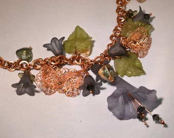 OOAK Copper and Slate Blue Fairy Flower Statement Necklace Lucite Flowers Swarovski Womens Birthday or Anniversary Gifts