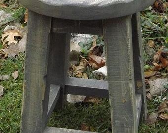 "wood stool Rustic/ stool / shop stool/ pine/ farmhouse/ gray/stand/ 18""H"