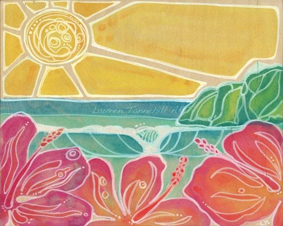 8x10 Giclee Print Hawaiian Style Nursery Decor Fuschia Hibiscus Flowers, Waves and Sunshine in Hawaii by Lauren Tannehill ART