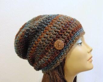 Crochet Slouchy Hat Brown Beanie, Mens Beanie, Womens Hat, Blue and Brown Striped, Mens Slouch Beanie, Mens Fashion, Oversized Beanie