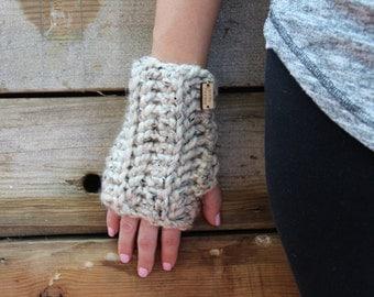 Wrist Warmers Fingerless Gloves Oatmeal Long Chunky Mittens Crochet Women's Accessories Gifts