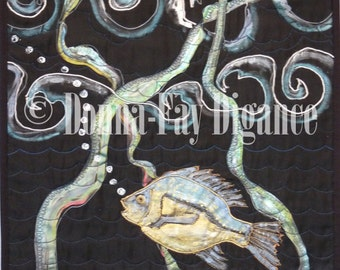 Silk Painted Wall Hanging  Quilted  Embroidered Ocean Perch