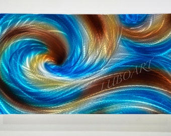 """ocean wave dance blue copper 30x18"""" abstract METAL art painting office sculpture 3D effect modern wall home decor original hand made by Lubo"""