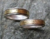 Custom Order for Mary:  White and Yellow Gold Wedding Bands--His and Hers Wedding Rings--Spin Rings, Meditation Rings