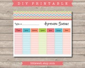Back to School Homework Planner Organizer Schedule - Instant Download!