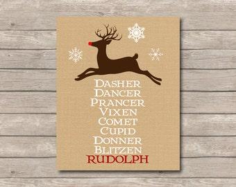 Christmas Reindeer Printable, Burlap Art Print, Rudolph Christmas Art with Reindeer List