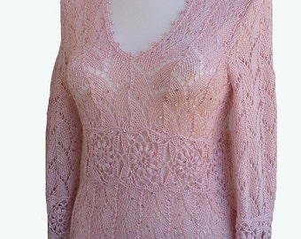 knitted dirty pink sweater-tunic blouse lace sequins