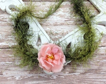 Pink Rose Flower Crown Headband - Newborn Halos,  Newborn Photography Prop, Flower Girl Forehead Tie Headband Fairy Tale Collection