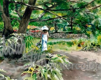 """Girl in White Dress & Hat Strolling Country Path of Wildflowers Children Watercolor Painting Print, Wall Art, Home Decor, """"Vision in White"""""""