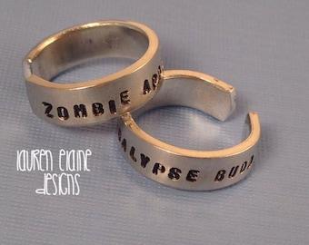 Zombie Apocalypse Buddies Hand Stamped Aluminum Ring Set- Set of 2