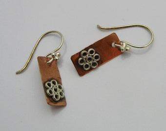 Mixed Metal Earrings, Copper and Silver Earrings, Handmade Earrings, Sterling Silver Earrings, Silver Flower Earrings, Dangle