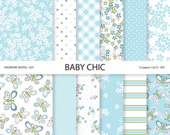 Baby Shabby Chic Digital paper pack in blue, Baby Digital Papers, Baby Boy, Butterflies, digital backgrounds, INSTANT DOWNLOAD Pack 625
