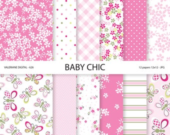 Baby Shabby Chic Digital paper pack in pink, Baby Digital Papers, Baby Girl, Butterflies, digital backgrounds, INSTANT DOWNLOAD Pack 626