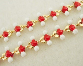 A-141. 30cm, Gold plated, J- Red and White Chain