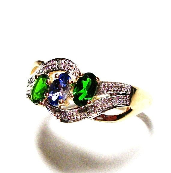 Chrome Diopside Ring Anniversary Ring 3 Stone Ring Gold
