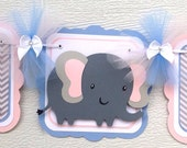 Elephant baby shower banner, gender neutral banner, pink, blue and grey chevron